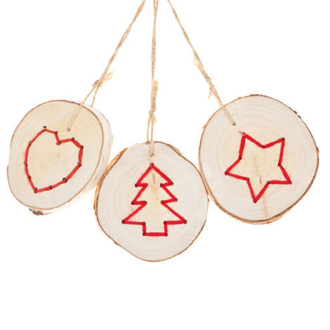 Embroidered Wooden Ornaments