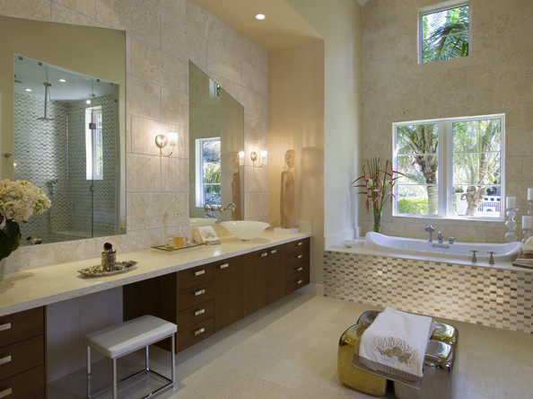Glam room modern bathrooms lonny Beige brown bathroom design