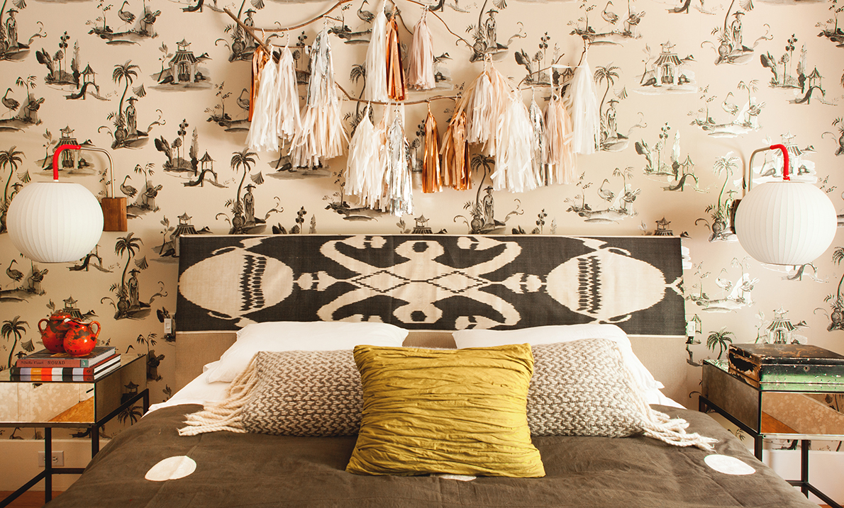 Multicultural accents in the bedroom of children's fashion designer Emily Meyer.