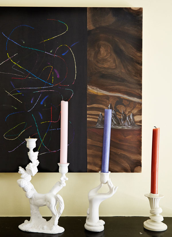 Color pervades the home, right down to details such as candles.