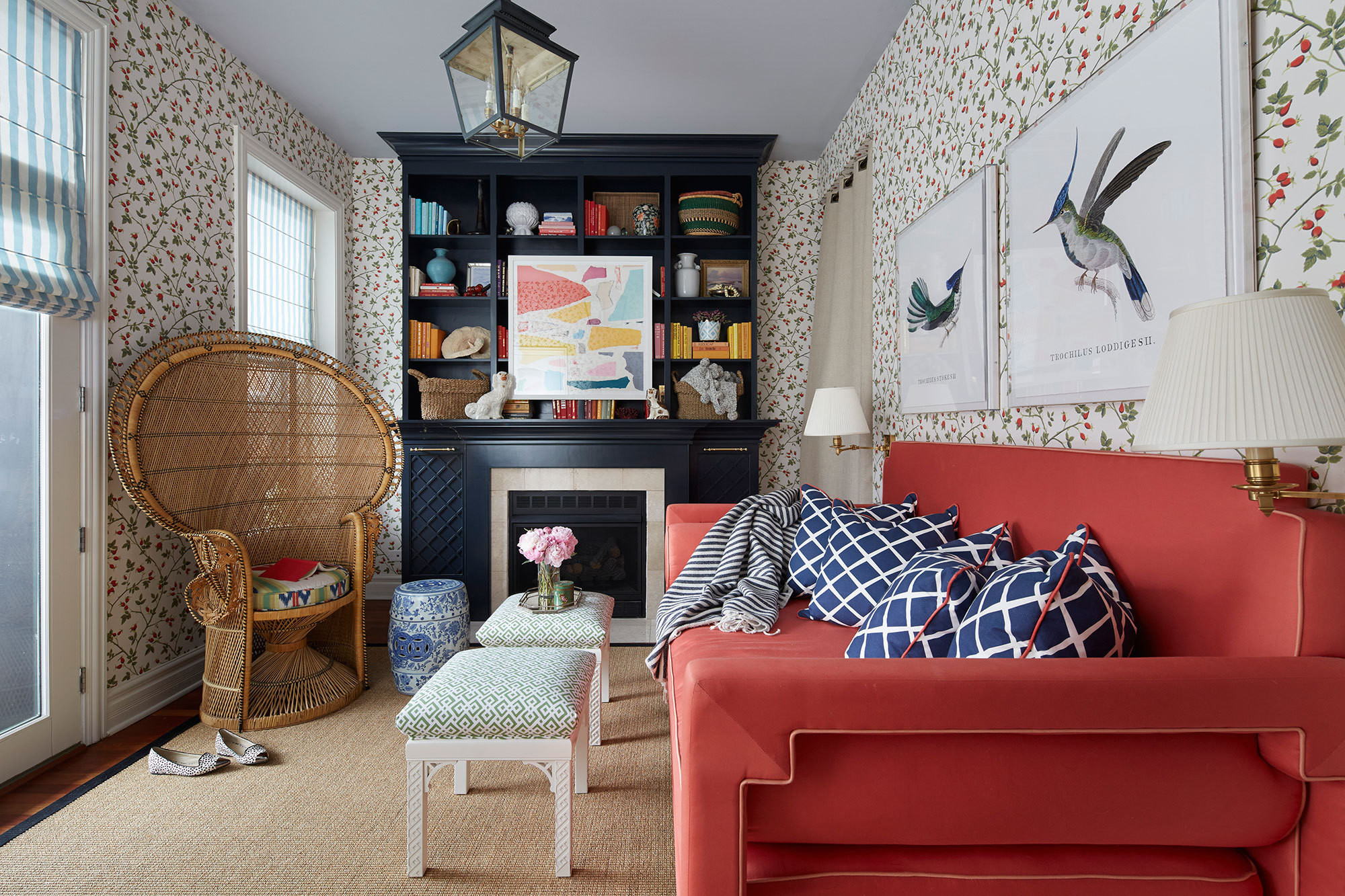 Pattern, texture, and color combine in an eclectic Chicago apartment designed by Summer Thornton.