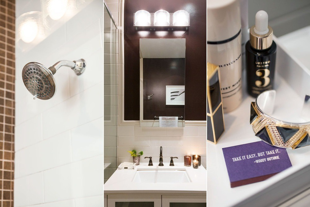 A new showerhead, faucet, and vanity light fixture, along with a deep-hued wall color and some glamorousaccessories, turn a tiny master bath from drab to fab.