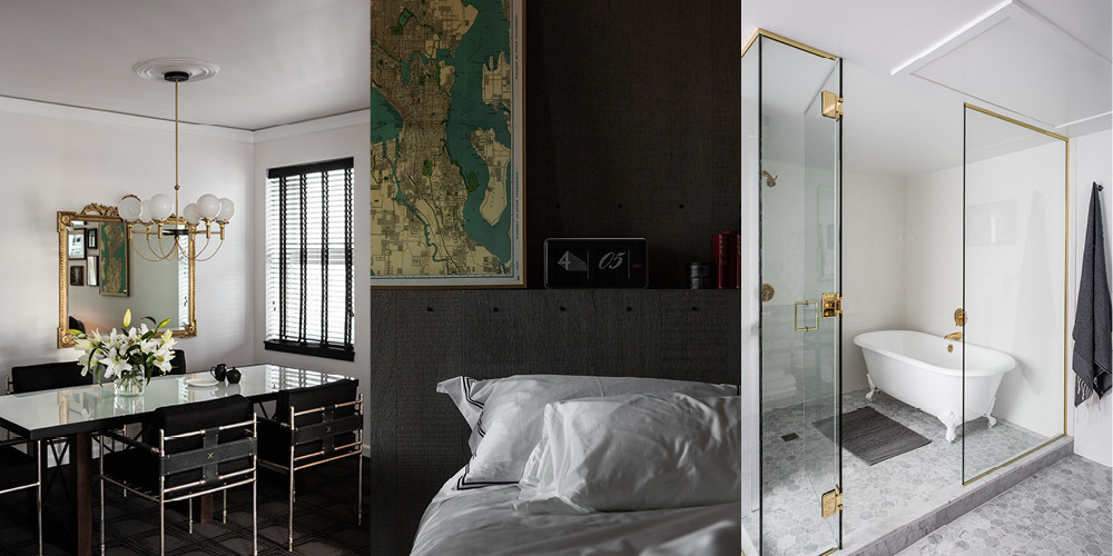 Guest rooms strikes a balance between rustic and contemporary: a period-style globe chandelier, vintage maps, and a claw-foot tub.