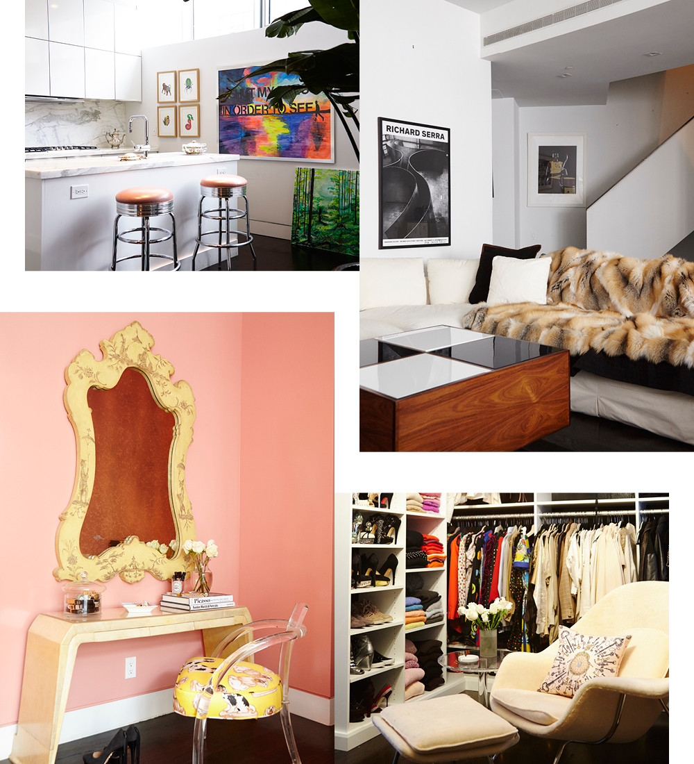 """Prized piecesincluding her grandmother&squot;sfur throw and vintage designer fashioncollection, housed in the boutique-like closet Bikoff playfully refers to as """"the archive,"""" are some of the only items in the apartment the designer doesn&squot;t plan to part with."""