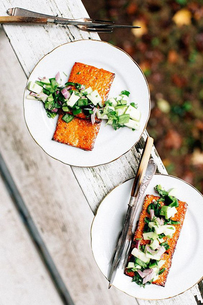 Barbecued Tempeh With Apple Salsa