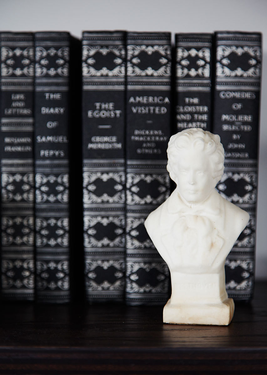 A collection of leather-bound books provides the perfect backdrop for a miniature marble bust.