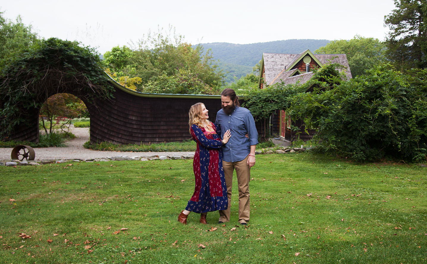 Thunderwing's Jennifer Brandt-Taylor and Nic Taylor on the lawn of their home in New York's Hudson Valley.
