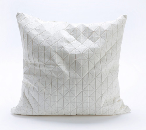 Origami Geometric Pillow in White by Mika Barr