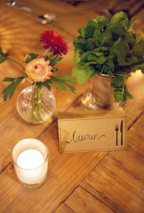 "Lauren&squot;s setting includes a place card from the FEED Supper ""toolkit."""