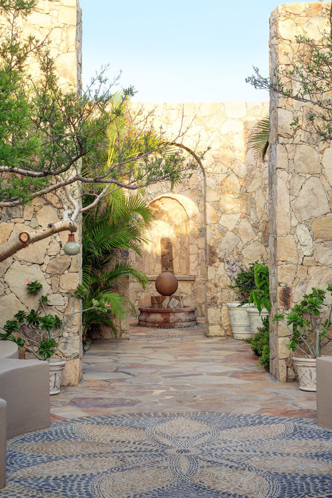 A courtyard garden at the property's spa.