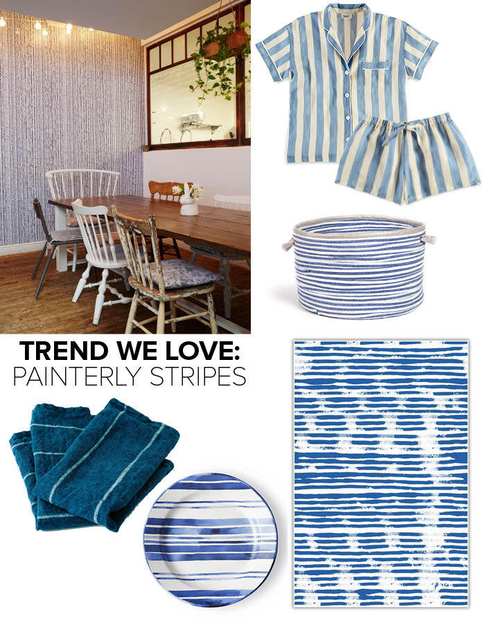 Clockwise from top left: Drizzle wall covering by L'aviva Home ($350/roll) at Maman in NYC (photographed by Nicole Franzen); Marina Short Sleeve Pajama Shirt in Bold Painted Stripe Blue: $128, Sleepy Jones; Paloma Pajama Short in Bold Painted Stripe Blue: $48, Sleepy Jones; Striped Blue Linen Basket: $159-$299, Rebecca Atwood; Mod Stripe table cloth: $99-$169, Bottlcloth; Côte d'Azur Dinner Plate: $27, Ralph Lauren Home; Mimi Indigo Napkins by Caroline Z Hurley: $60, Nourish Kitchen + Table