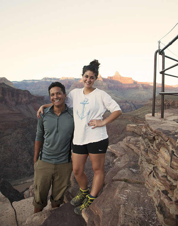 Alonzo and I triumphantly posing after a few days hike in the Grand Canyon.