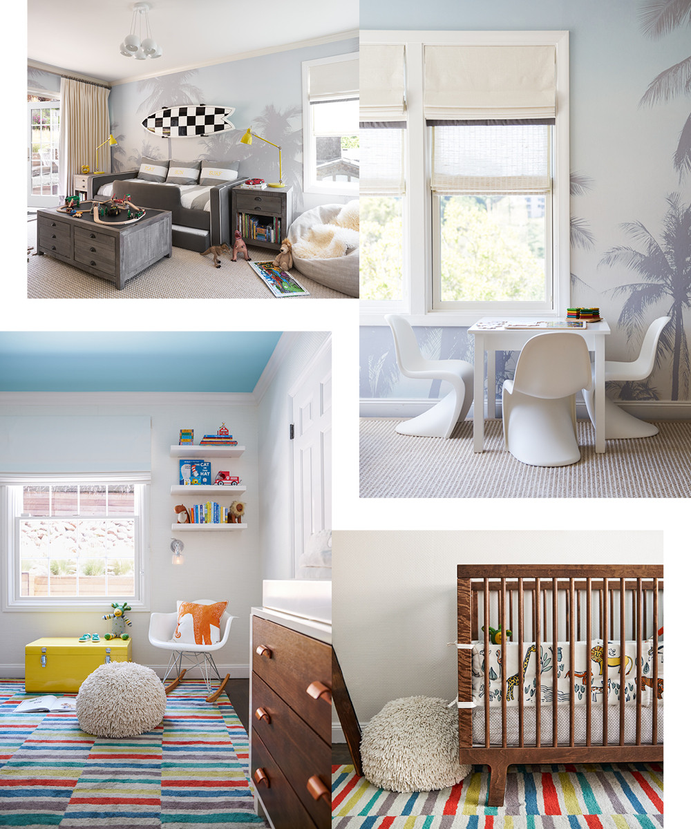Throughout both children's rooms, miniature versions of in vogue modern furniture, like the white Panton chairs and the Eames rocker, lend a definite cool kid vibe. When it came to bold wall and floor coverings, Munroe saw these surfaces as the perfect place to make a bold statement.