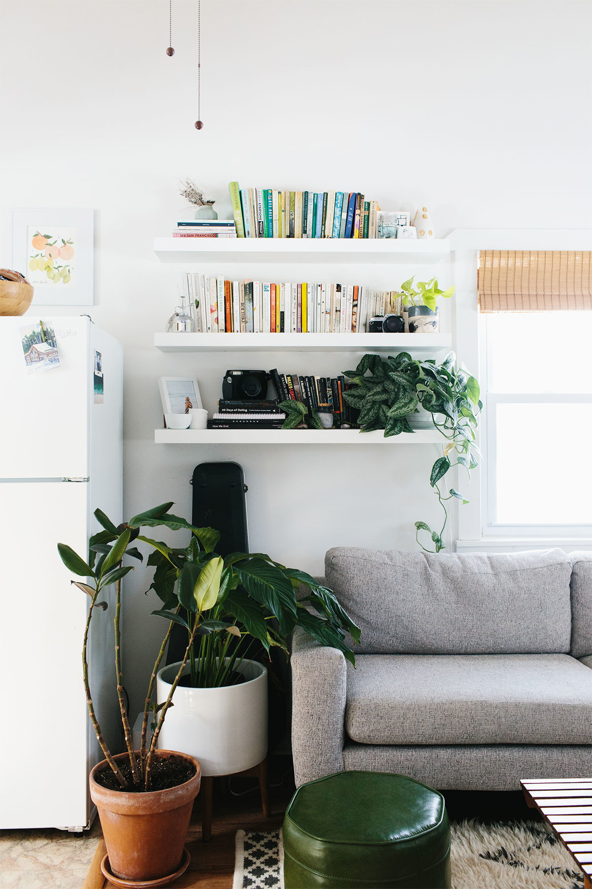 Stier added IKEA shelves and filled her tiny cottage with house plants, to give her home a cozy, restorative vibe. IKEA Shelves | West Elm Sofa | Vintage Ottoman | Wilson Antiques Coffee Table | West Elm Rug | Darling Botanical Co. Plants. | Vintage Accent Pieces.
