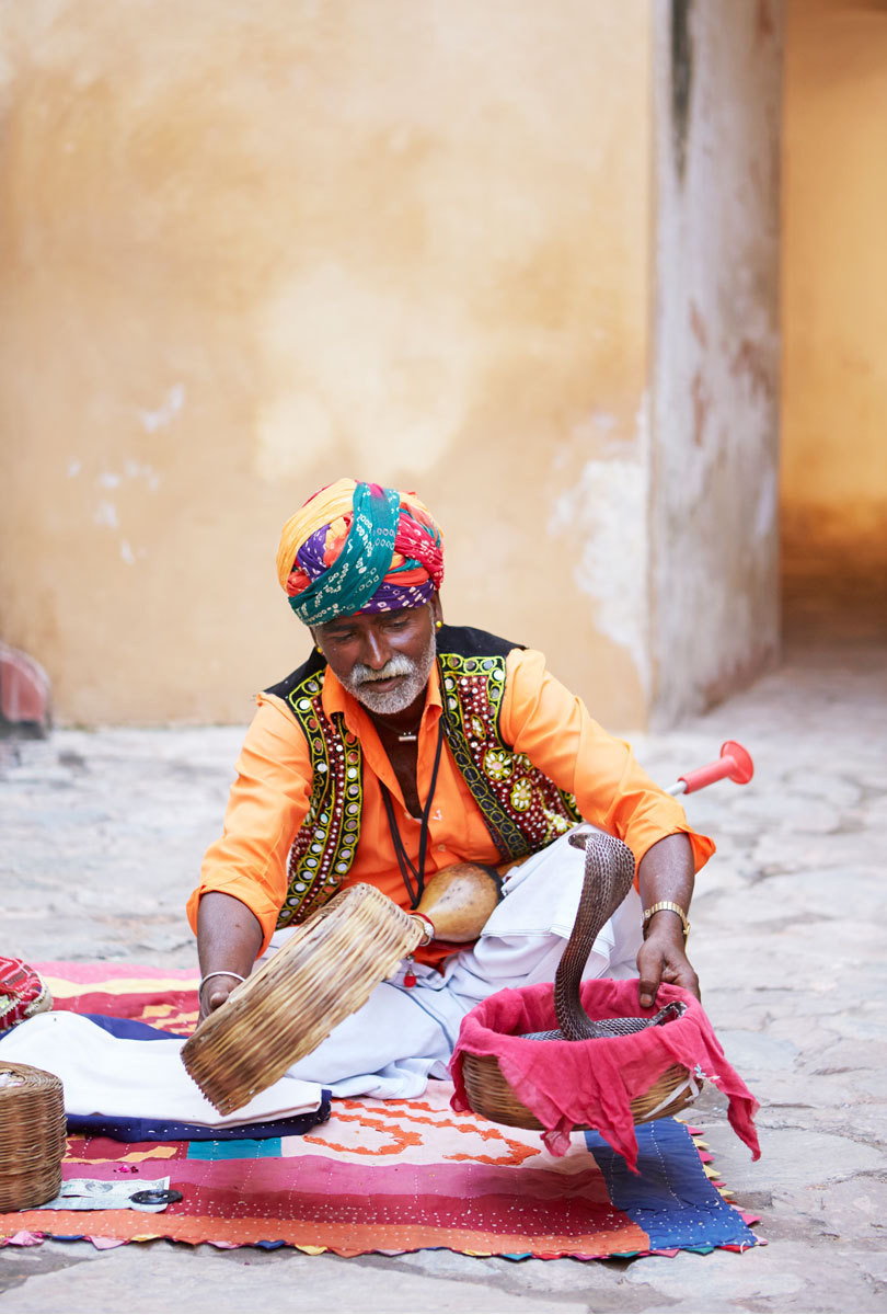 Controversial yet undeniably atmospheric: a traditional snake charmer with a cobra in his sway.