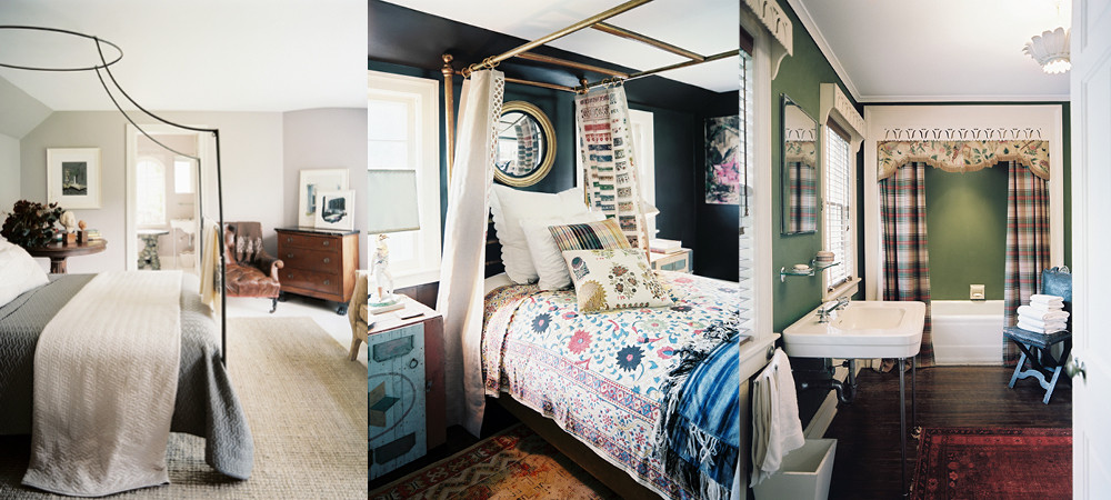 From left to right: An Italian campaign canopy bed provides an air of romance to a serene guest bedroom; in another guest room, a brass canopy bed dressed in colorful floral linens gleams against dark walls; a bathroom retains many of the charming 1920s fixtures, including built-in cabinetry and carved wood cornices.