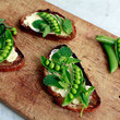 Fromage Fort and Spring Vegetable Crostini
