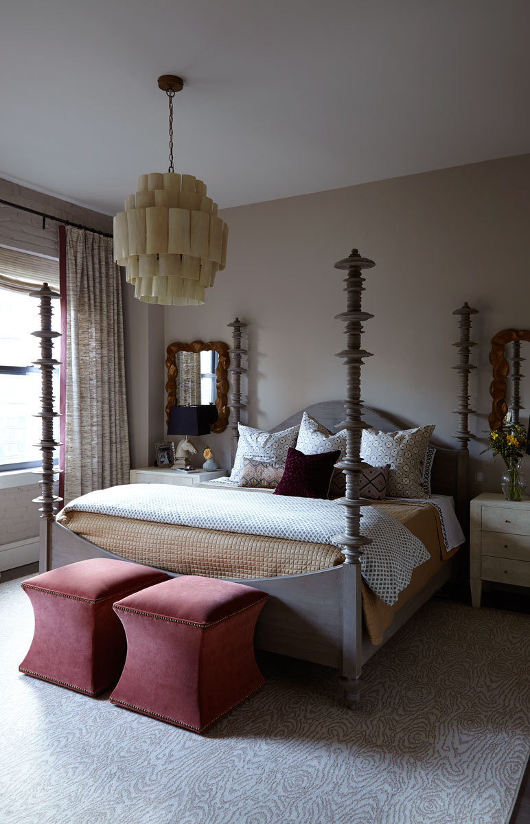 In the master bedroom, color is restrained to a more monochromatic, textured feel than elsewhere in the home.