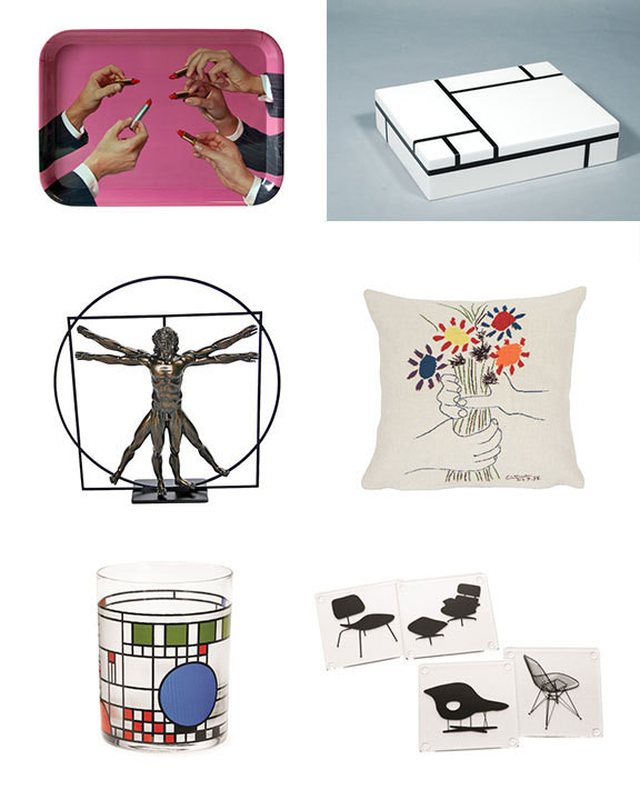 "Clockwise from top left: Maurizio Cattelan ""Lipsticks"" tray, $45; Mondrian ""Composition in Black and White"" large box, $175; Picasso ""Bouquet of Peace"" pillow, $145; Charles and Ray Eames chairs coasters, $25; Frank Lloyd Wright ""Coonley"" tumbler, $15; Leonardo Da Vinci&squot;s ""Vitruvian Man"" statue, $85."