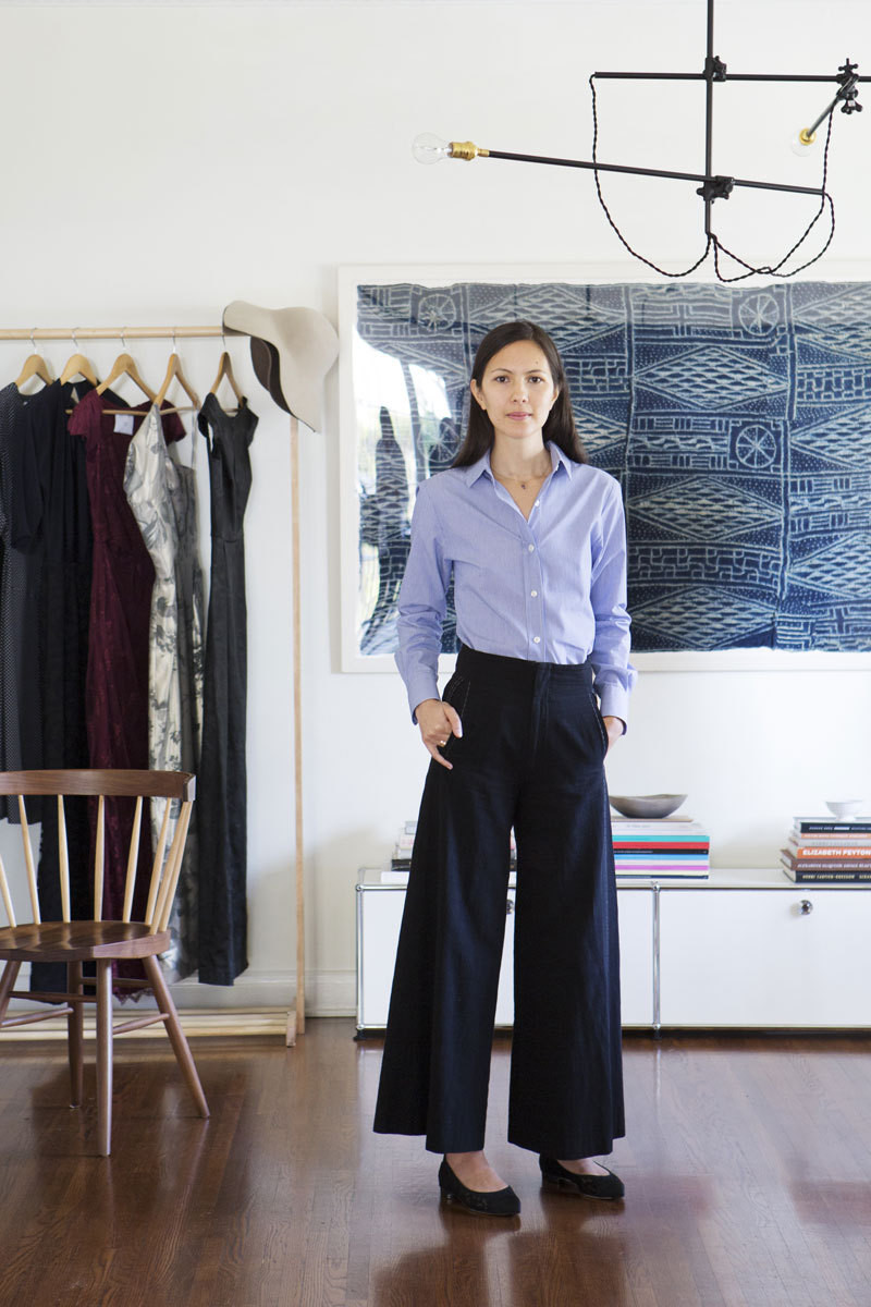 The fashion designer in her home studio.