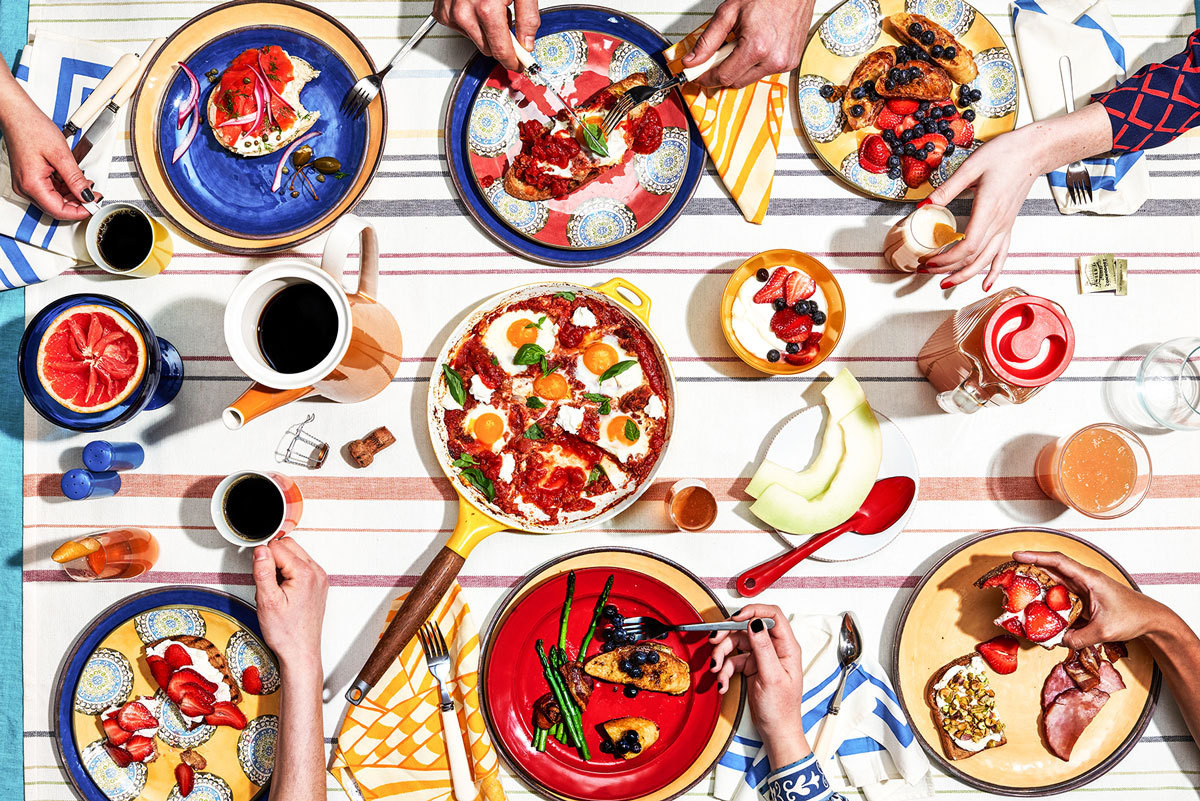 Breakfast of champions: A color-forward brunch party featuring tabletop items from Pottery Barn.