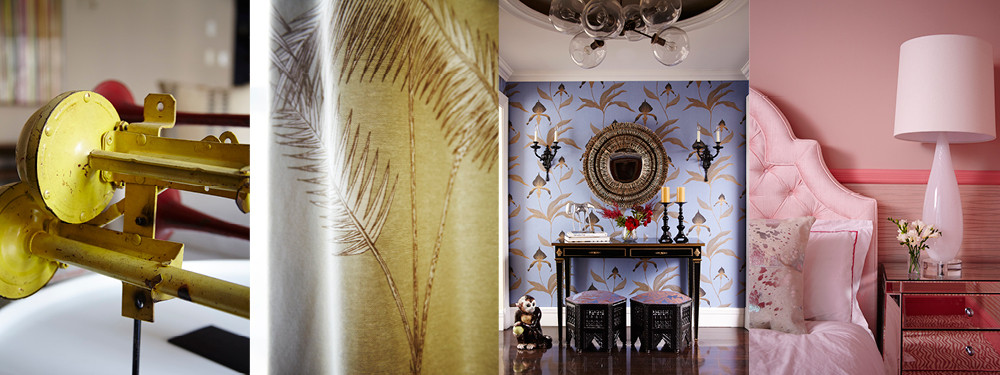 Trumpet-like figurines were found at an art fair in the Hamptons. Cole & Son's Palm Leaves print hangs layered atop the unstructured balloon shade made from a Holly Hunt metallic threaded sheer. The home's eclectic entry foyer gives a peek at the elegant, whimsical personal touches that lay beyond. A custom tufted bed is covered in a Holly Hunt silk velvet.