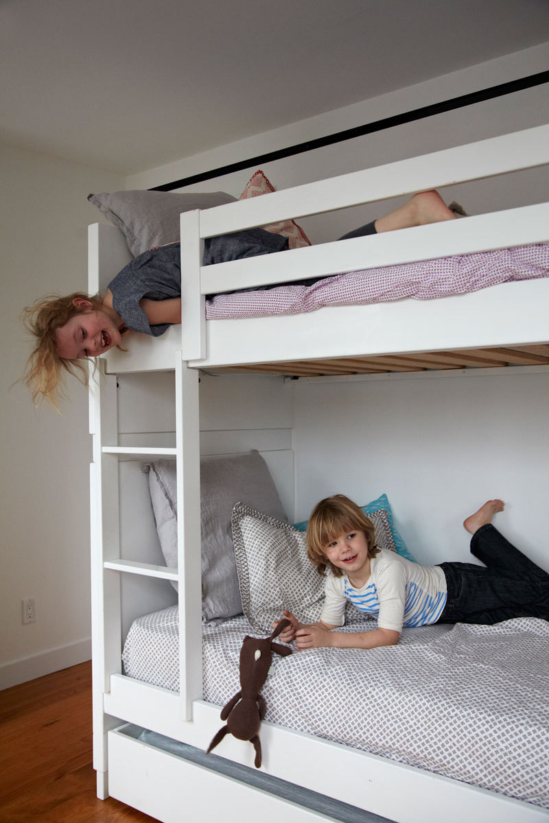 Bunk beds are a smart space saver as well as a good way to foster sibling camaraderie.
