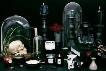 A Black Candle Setup for Your Halloween Table