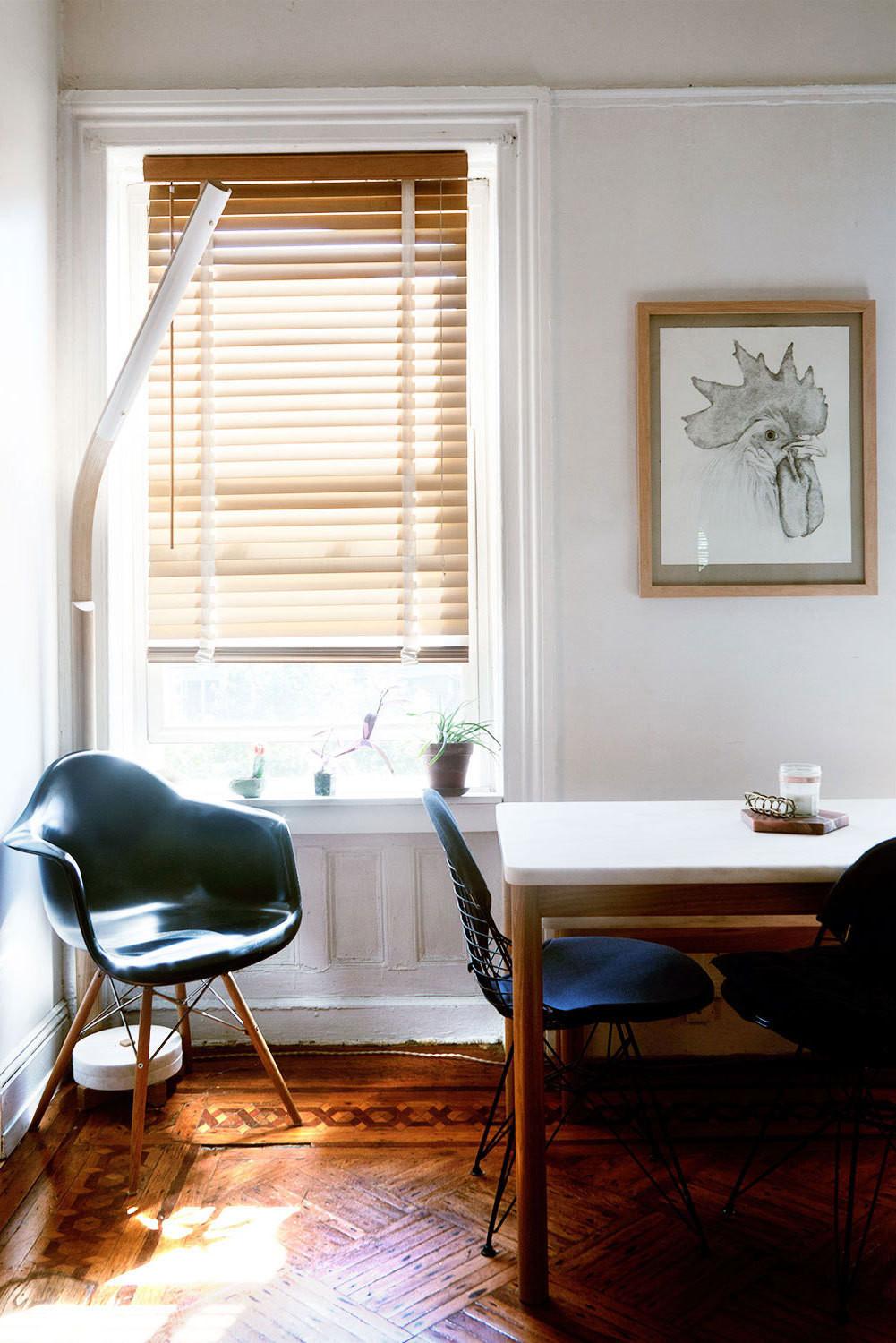 A molded chair catches the sunlight in a windowed corner of Buntain's Clinton Hill living room.