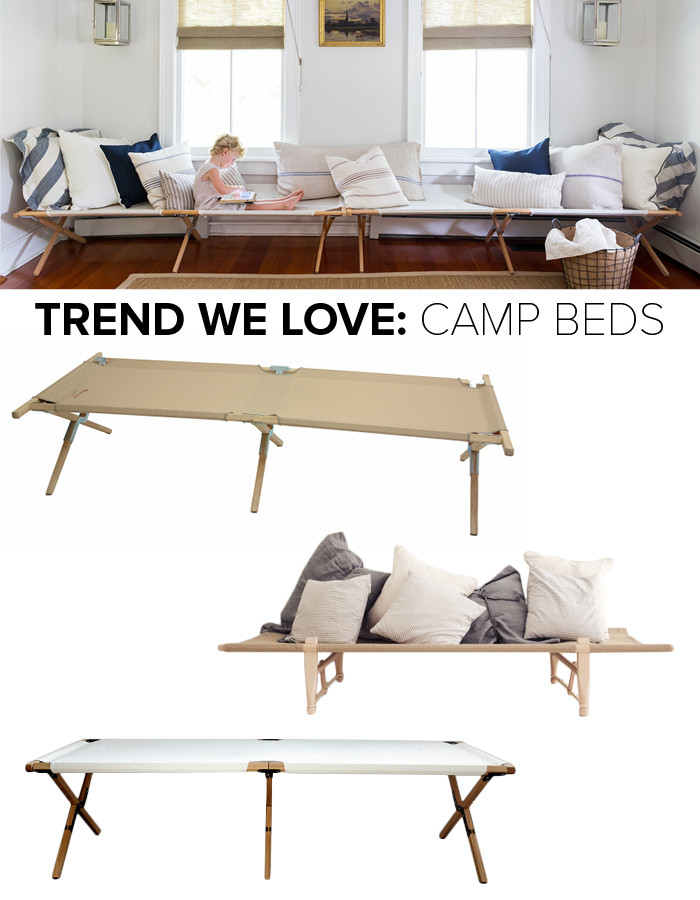 Top to bottom: Kiran and Stéphane DiTullio's Catskills home (photographed by Ball & Albanese); Sleeping Cot: $198, Hable Construction; Safari Daybed: $611; Dunlin; WW2 Camp Bed: price upon request; Topos Workshop