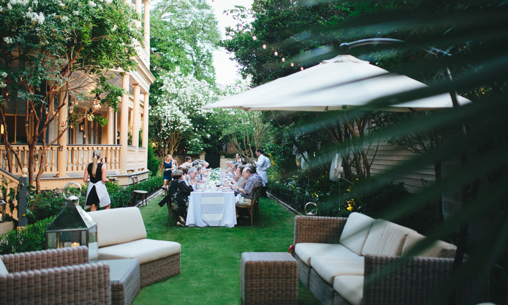 Christine and Eric Jablon hosted a sophisticated French-inspired birthday fête at their historic home in Charleston, South Carolina.