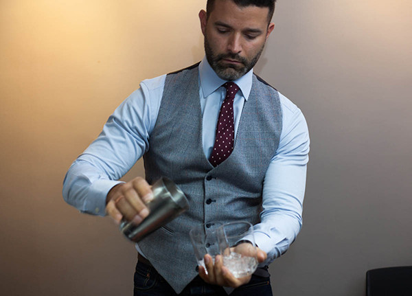 Brent Lamberti pours a couple of Shiso Lovely cocktails.