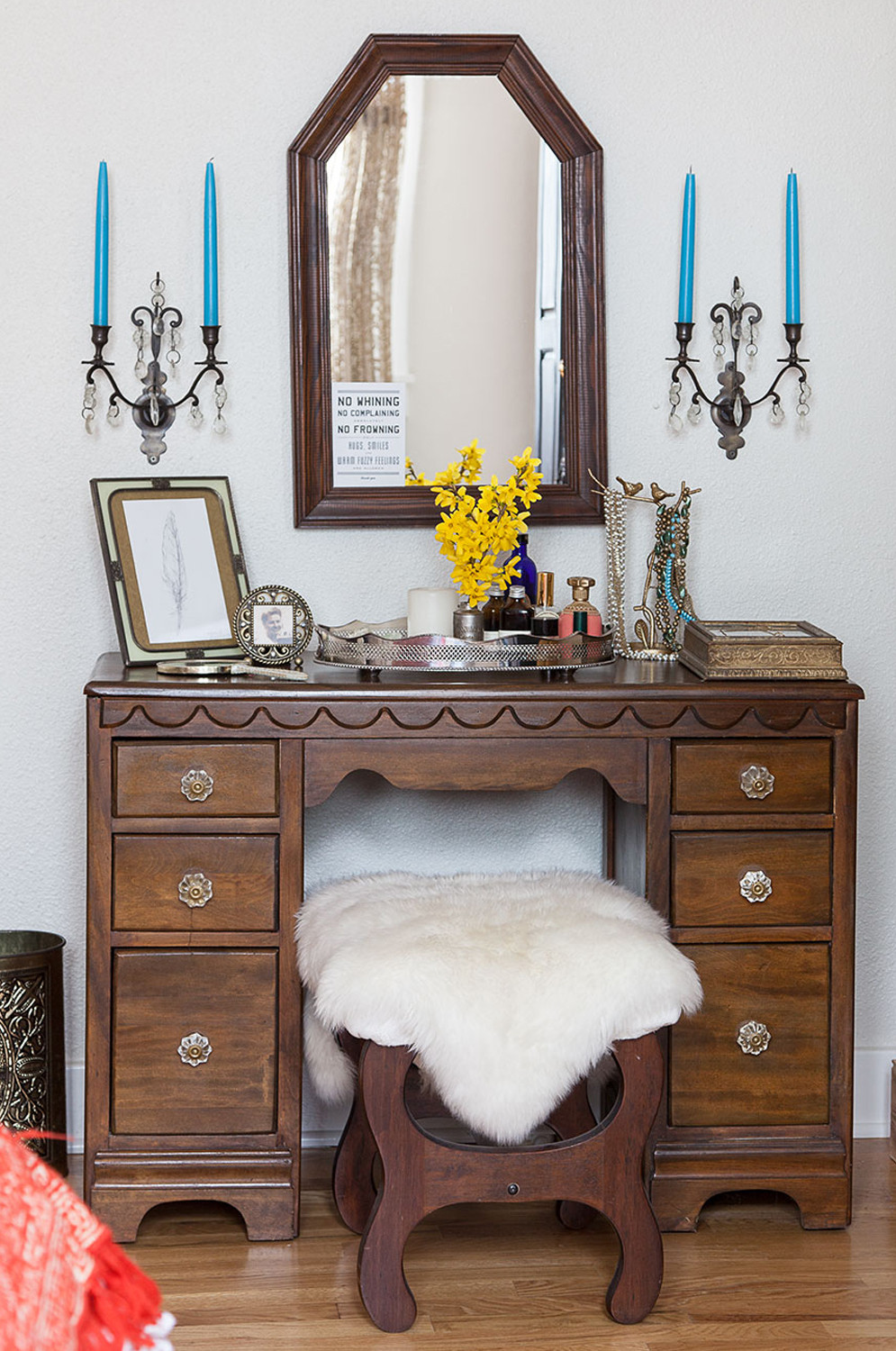 Lindsey's grandmother's vanity is one of numerous heirlooms that made the journey from Louisiana to Tennessee.