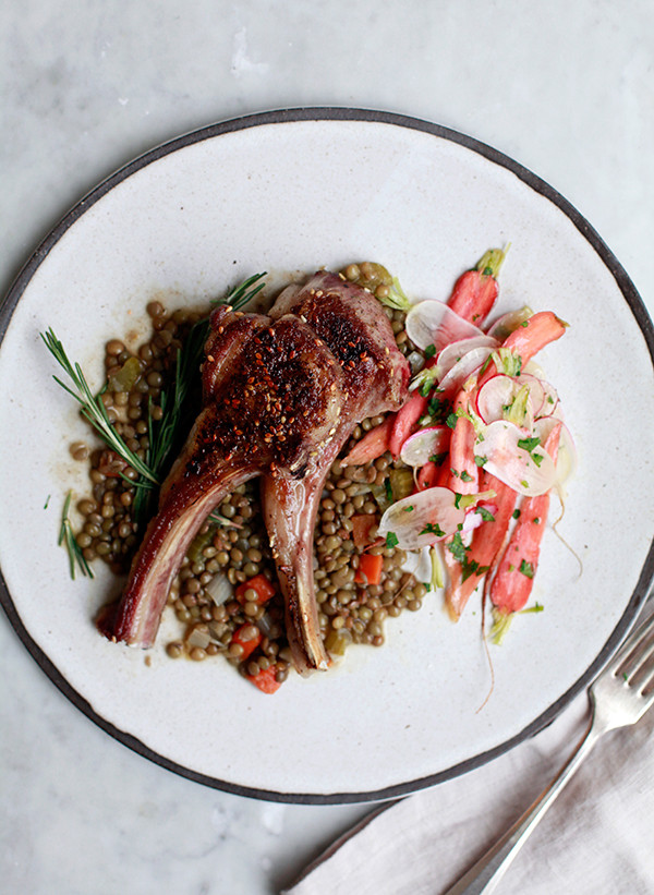 Za'atar-Spiced Lamb Chops with Lentils