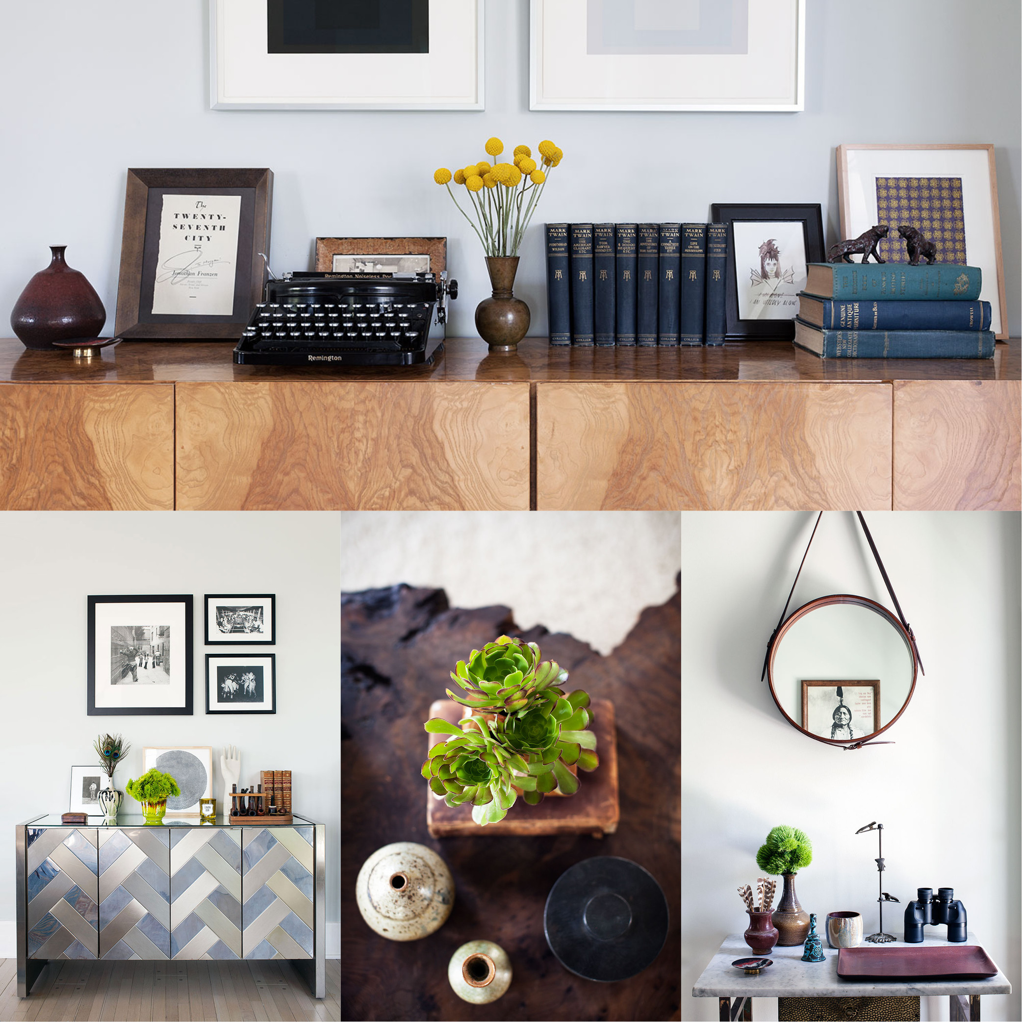 CLOCKWISE FROM TOP A vintage typewriter and a pair of Joseph Albers prints form one of many unique vignettes. A photograph of Native American chief Sitting Bull is showcased in a hanging mirror. Succulents and ceramic vessels top a burl-wood coffee table. The Art Deco–style console was discovered by Hall at a flea market.