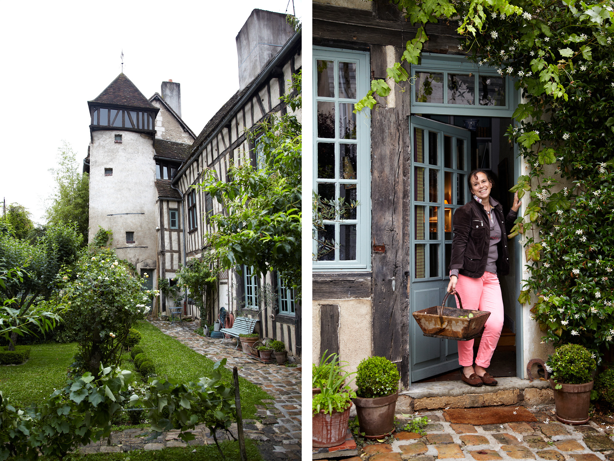 Watercolor artist Céline Chollet and her husband, Olivier, live in a 16th-century Maison à Colombage (timber-framed house) in the Burgundian town of Auxerre, France. The artist at home in her garden.