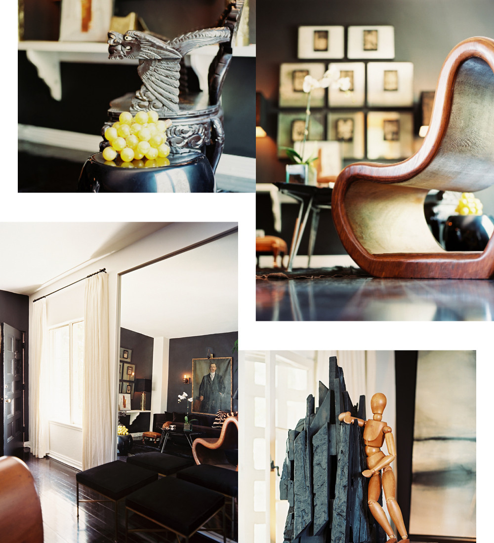 "Clockwise from top left: This wooden dragon stool is an example of Straus&squot; collection of opulent travel finds; a mid-century chair from Fuller + Roberts Co. brings organic appeal to the living room; Straus added humorous touches by taking items out of context and placing them in unexpected pairings; the custom-made mirror in the entryway gives the illusion of another room and ""makes the entire space feel more alive,"" says Straus."