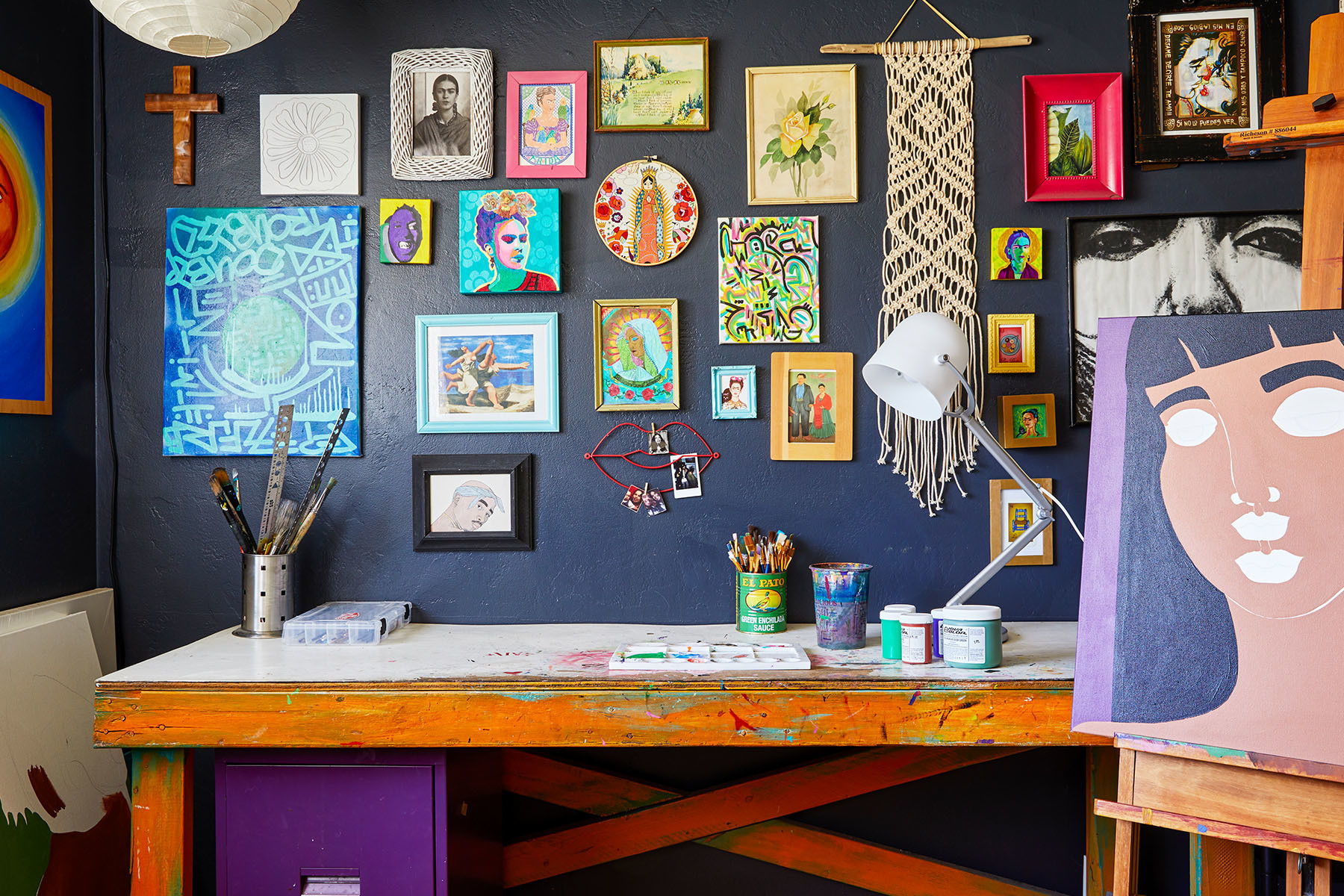 """Denise Cortes describes her at-home studio as her """"sacred space."""" Vintage Painter's Table 
