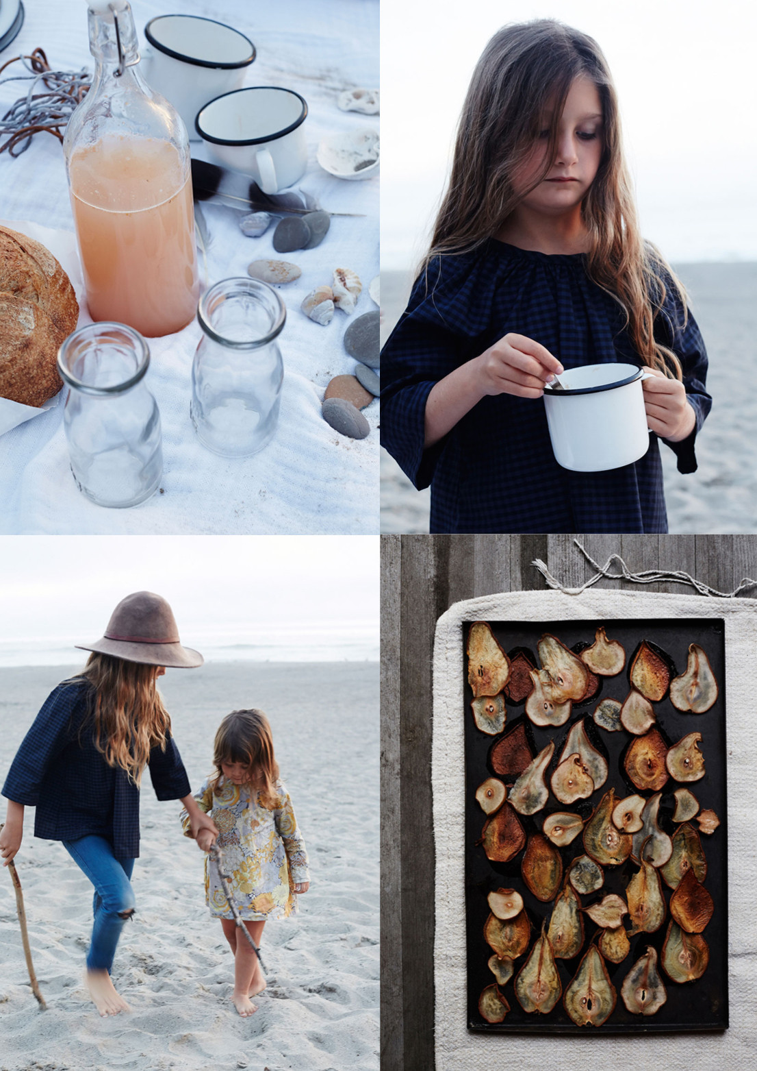 Elements of an autumn picnic: fruit-flavored sodas in swing-top glass bottles, enamel mugs for soup, a tray of roasted pear chips for snacking, and plenty of beachcombing on the agenda.