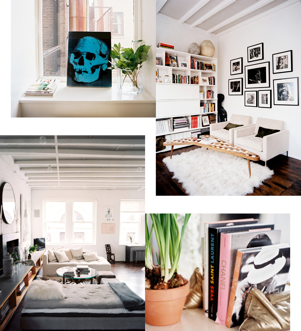 "Top right: Knoll chairs sit under a collection of black-and-white photography in the office. Mellett found the vintage boomerane coffee table in Brimfield, Massachusetts. Bottom left: Mellett chose a chaise in lieu of a second sofa to help the space feel more open. ""It makes the whole area feel more conversational,"" he says."