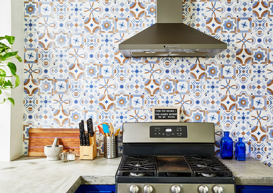 """My heart was set on channelling Frida Kahlo's Blue House in Mexico City,"" says Cortes of her tiled kitchen. GE Appliances 