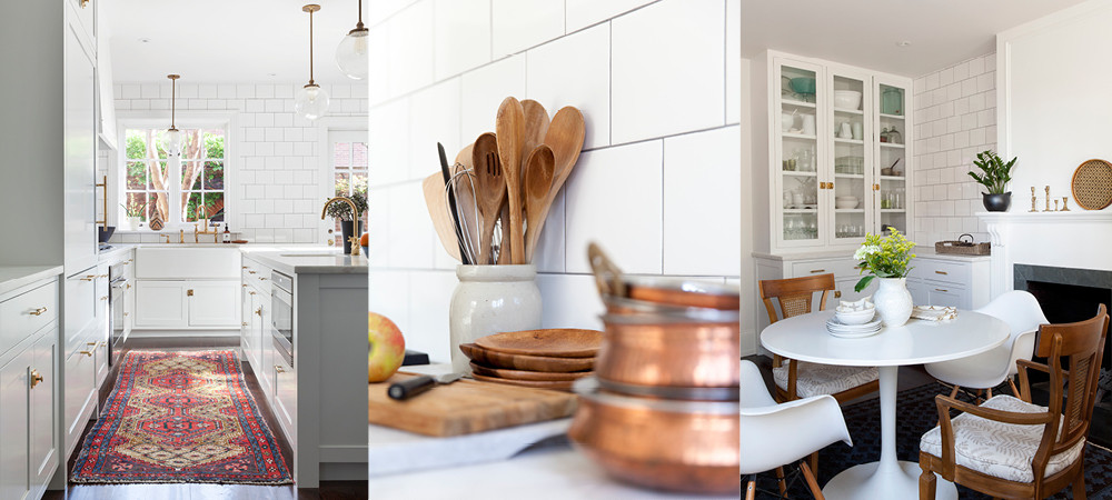 Multicolored textiles and wood and copper details enliven a predominantly white kitchen.