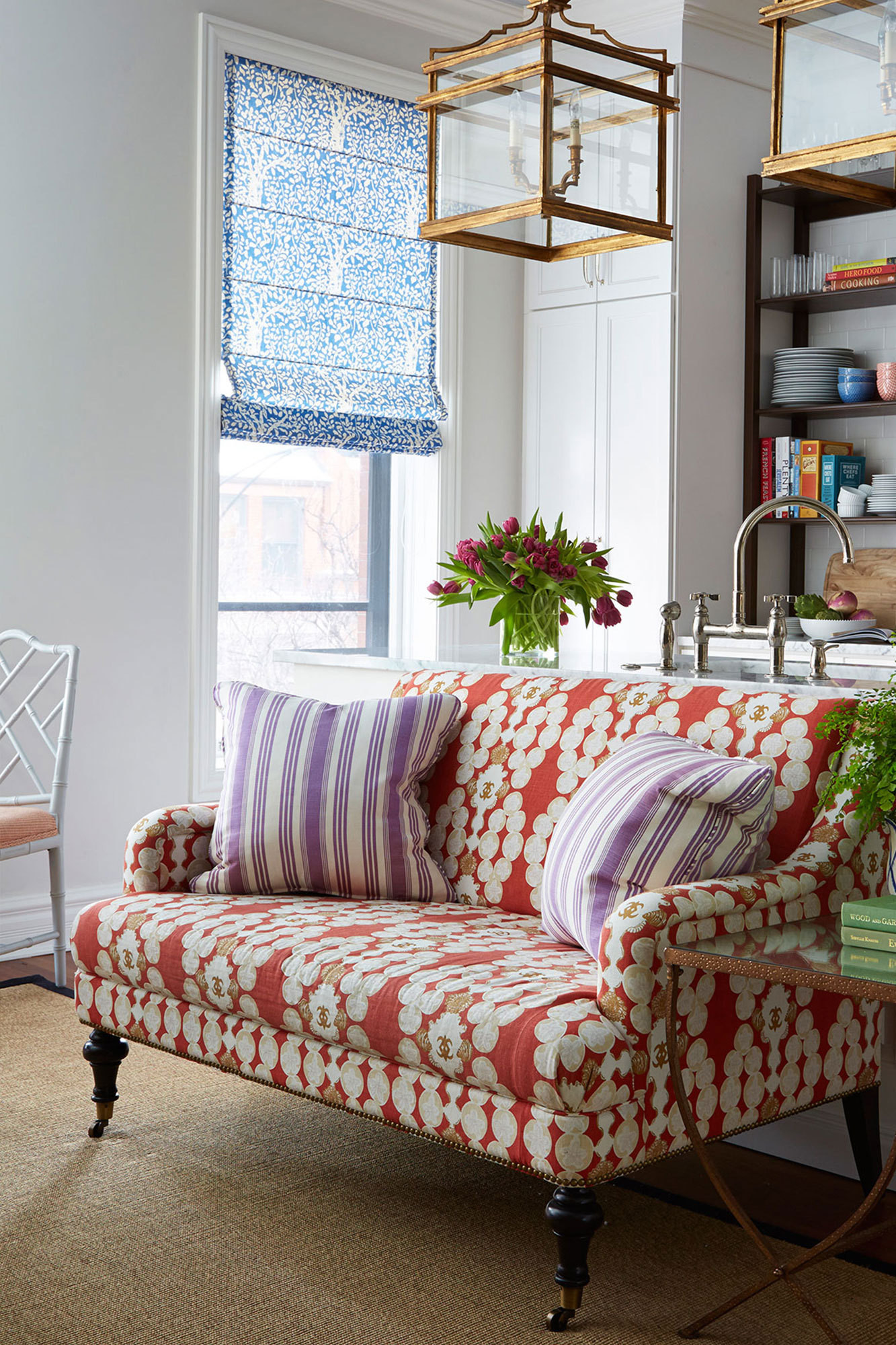 Mitchell Gold + Bob Williams's Odette Sofette pops thanks to Raoul Textiles's Miramar fabric in persimmon.