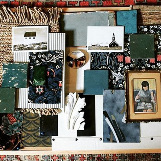 A moodboard using prints from House of Hackney's William Morris collaboration.