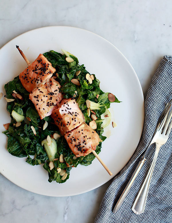 Weeknight Dinner: Miso-Glazed Salmon Skewers