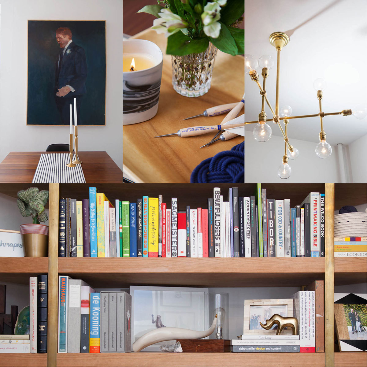 Clockwise, from top left: Brooklyn-based artist William Logan's painting hangs above the dining table. A wood tray holds knotted-rope coasters and a Diptyque candle. A custom brass chandelier. Shelving by Pink Sparrow Scenic houses the couple's assorted personal items.