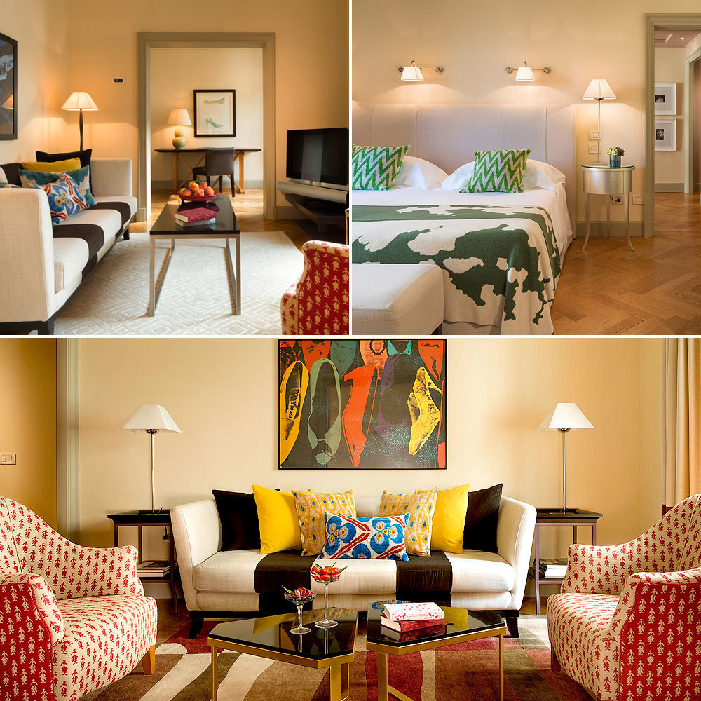 """""""We kept to light colors on the walls to reflect the comfort and brightness of Florence,"""" shares Hotel Savoy's designer Olga Polizzi. The Signoria Suite, located on the first floor of the property, is brought to life by a colorful mélange of bold patterns and playful motifs."""