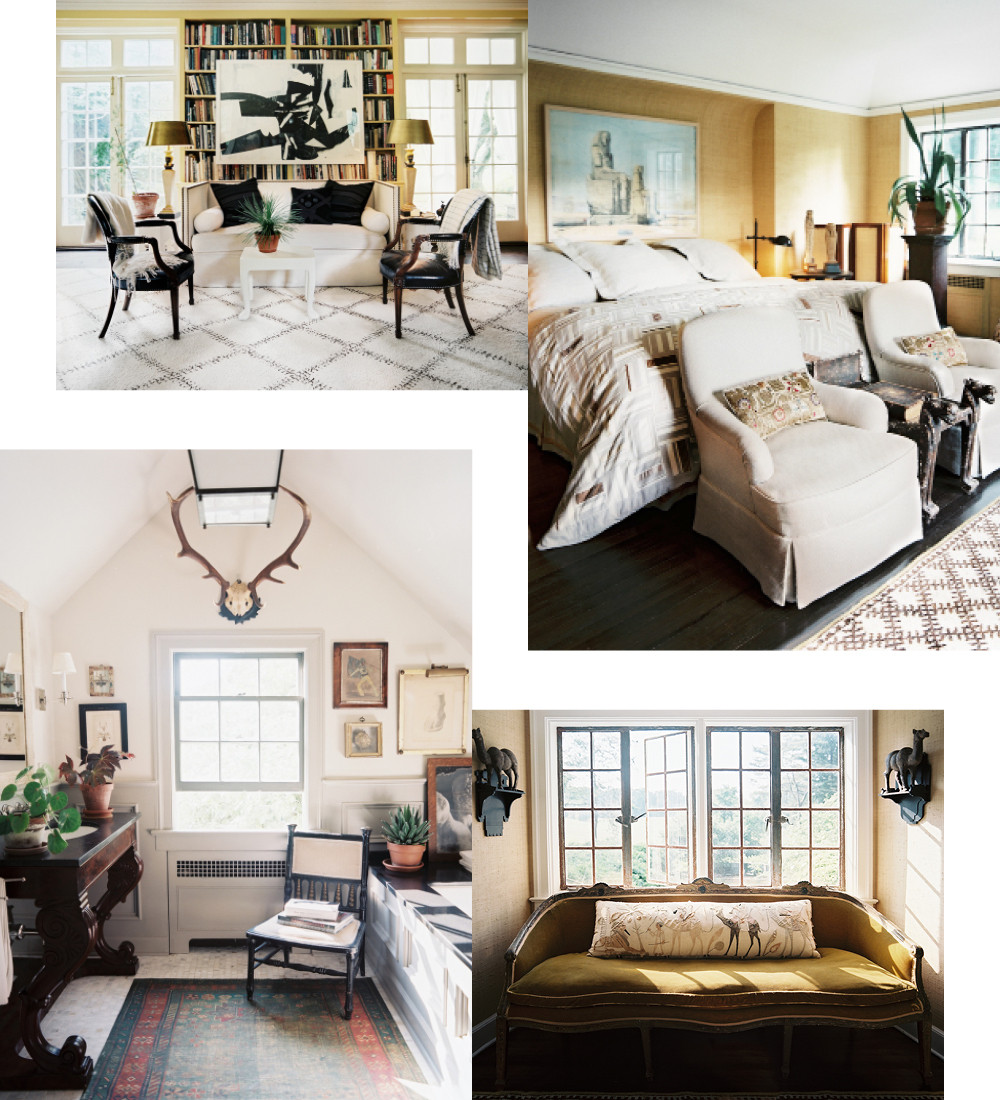 Clockwise from top left: An abstract collage provides stimulating contrast to the library's well-ordered symmetry; in the master, grass-cloth wallpaper provides warmth, sophistication, and texture; an antique velvet-upholstered settee was a gift from a friend; the master bathroom possesses the air of a gentlemen's club, complete with antlers and dark, lustrous wood.