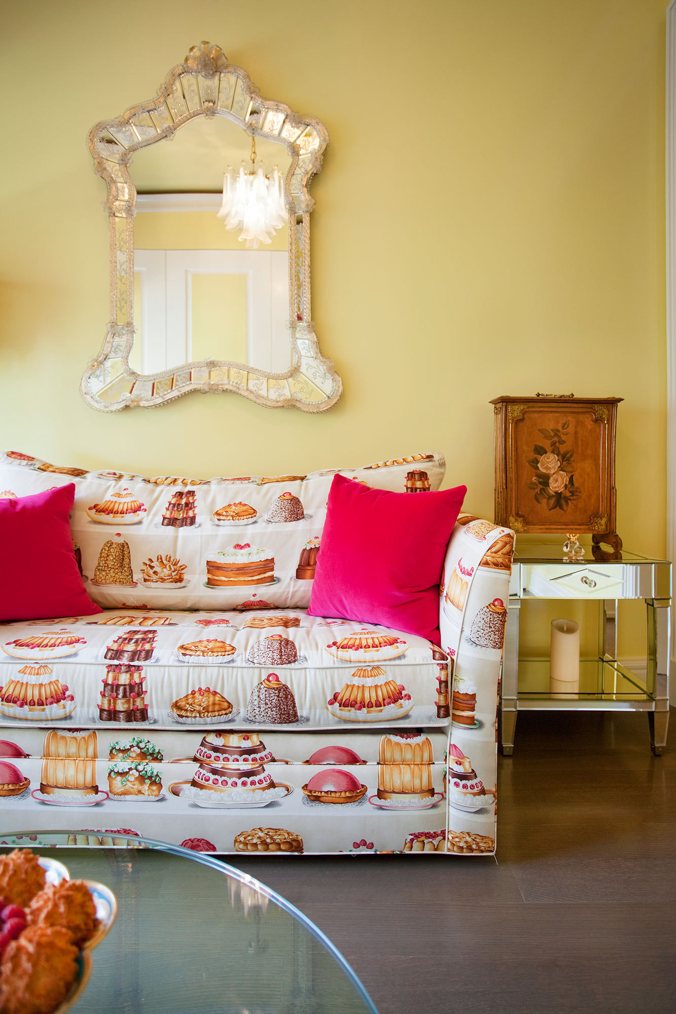 Pierre Frey fabric adds a decadent air in the yellow bedroom.