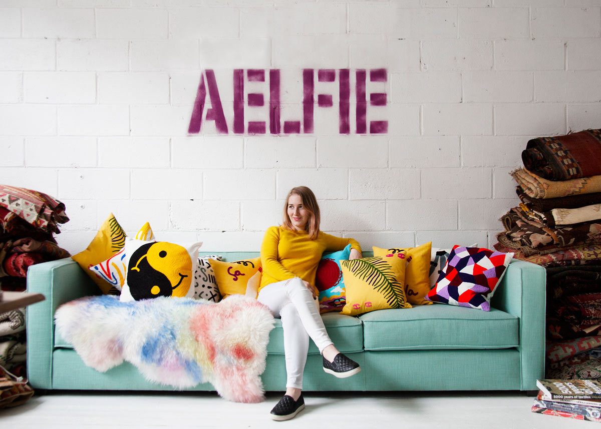 Textile designer and dealer Aelfie Oudghiri in her current studio in the Greenpoint neighborhood of Brooklyn, New York.